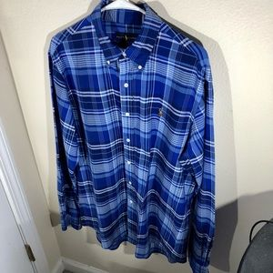 Polo by Ralph Lauren,The Iconic Oxford Shirt, Mens size Large, Blue and White